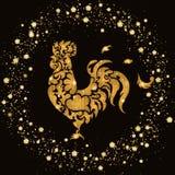 Coq de scintillement d'or de nouvelle année Images stock