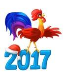 Coq de vacances de chant avec le texte de 2017 ans Célébration d'an neuf Illustration de Vecteur