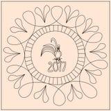 Coq de Zentangle avec le numéro 2017 Image stock