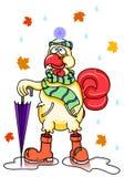 Coq drôle romantique de bande dessinée d'automne, bottes en caoutchouc de port et parapluie d'un chapeau d'écharpe Image stock