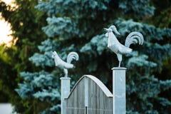 Coq en métal sur la porte photographie stock libre de droits