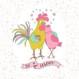 Coq et poule mignons Photo stock