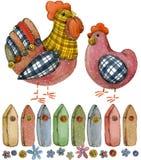 Coq et poulet animal de ferme de bande dessinée Images libres de droits