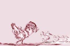 Coq et poussins de l'eau rouge illustration libre de droits