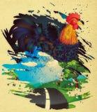 Coq grunge Photographie stock libre de droits