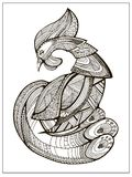 Coq ou coq stylisé de bande dessinée Croquis tiré par la main pour la page adulte de coloration illustration libre de droits
