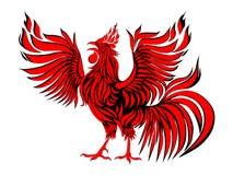 Coq rouge abstrait Symbole de 2017 sur le calendrier chinois Silhouette rouge de coq sur le fond blanc, Images stock