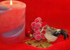 Coq rouge ardent un symbole de 2017 selon le calenda oriental Images stock
