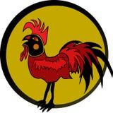 Coq rouge dans la trame noire Photos libres de droits
