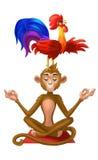 Coq sur une tête du ` s de singe Illustration Stock