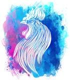 Coq, symbole chinois de zodiaque des 2017 ans Vecteur coloré Photos libres de droits