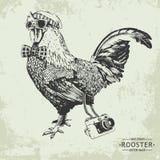 Coq tiré par la main de style de hippie de vintage de vecteur Photos libres de droits