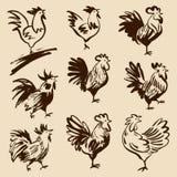Coqs dans différentes poses Le vecteur silhouette des coqs Photos libres de droits