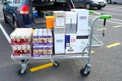 COQUELLES, PAS-DE-CALAIS, FRANCE, LE 7 MAI 2016 : Le chariot à achats a chargé avec de la bière et le vin bon marché Images stock