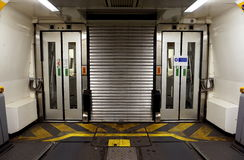 COQUELLES, PAS-DE-CALAIS, FRANCE, MAY 07 2016: Connecting doors between carriages on the Eurotunnel train Royalty Free Stock Image