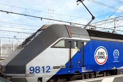 COQUELLES, PAS-DE-CALAIS, FRANCE, MAY 07 2016: Eurotunnel locomotive 9812 Stock Photo