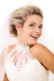 Coquette. Portrait of pretty bride posing in isolation Stock Photography