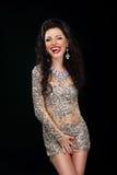 coquette Mulher engraçada que graceja e que lambe seus bordos Sorriso Amusing Fotografia de Stock