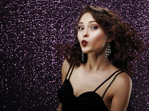 Coquette. Playful Young Woman Blowing a Kiss. Frizzy Hair Stock Photography