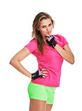 Coquettish fitness woman portrait Stock Photography