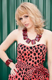 Coquettish girl blonde in leopard dress Royalty Free Stock Images