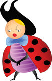 Coquettish ladybug. Cartoon of a coquettish ladybug Royalty Free Stock Images