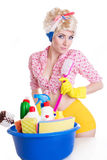 Coquettish pinup woman with cleaning set Stock Photos