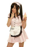 Coquettish waitress Stock Photography