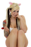Candy, tattoo and lollipop Royalty Free Stock Photography