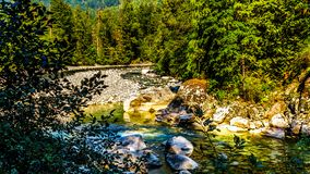 The Coquihalla River in Coquihalla Canyon Provincial Park and at the Othello Tunnels near Hope in British Columbia Canada. The Coquihalla River as it flows royalty free stock photography