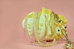 Coquillage avec les perles de luxe et les divers bijoux Images stock
