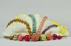 Coquillage avec les perles et les bijoux de luxe Images libres de droits