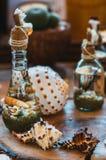 Coquillages colorés à l'intérieur de petits flacons montrés d'un plat en bois Photo stock