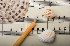 Coquillages et bougie sur notes musicales Images stock