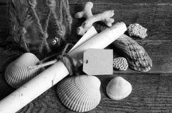 Coquillages et pot en verre Photographie stock