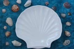 Coquille blanche de plat dans le style marin sur un fond bleu photographie stock