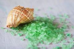 Coquille de mer et sel de bain arrosé Photographie stock