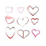 Coquille réglée d'icône de vecteur de valentine de coeur Image libre de droits