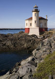 Coquille River Lighthouse Pacific Coast Oregon. West Coast Lighthouse on a rocky jetty Stock Photo