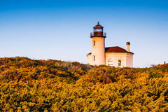 Coquille River Lighthouse. Abandoned lighthouse on the pacific coast near Bandon, Oregon royalty free stock photo
