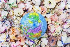 Coquilles de crayon, simulation de globe Photographie stock libre de droits