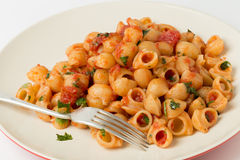 Coquilles de macaronis avec la sauce tomate d'arrabbiata Photo libre de droits