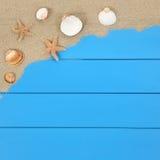Coquilles et étoiles de mer sur la plage dans des vacances d'été avec le copysp Photographie stock libre de droits