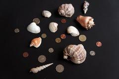 Coquilles et pièces de monnaie Photographie stock libre de droits