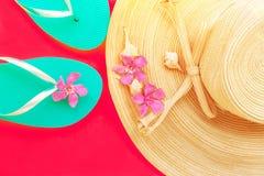 Coquilles tropicales de mer de pantoufles de turquoise de fleurs de rose du chapeau de paille des femmes sur le fond cramoisi de  image libre de droits