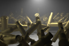 Coquilles vides de balle illuminées Image libre de droits