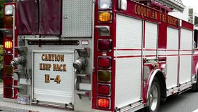 Coquitlam fire Truck stopped on road stock footage