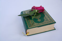 Corán en el fondo blanco con las rosas Foto de archivo