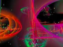 A cor abstrata do Fractal, futuro do papel de parede do conceito do brilho da curva do cartão gerou o fundo da cor, projeto criat ilustração stock