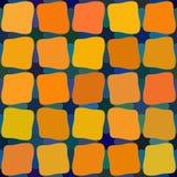 A cor alaranjada amarela azul do vetor protege o teste padrão de grade arredondado sem emenda dos quadrados do vitral Fotos de Stock Royalty Free